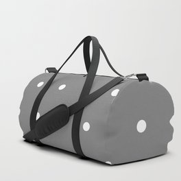 Grey With White Polka Dots Pattern Duffle Bag