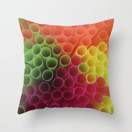 Rainbow straws Throw Pillow