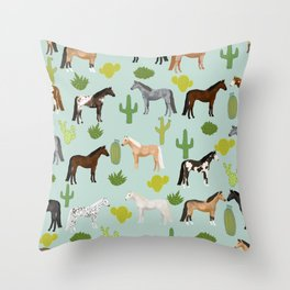 Horses Cactus - horse, cactus, western, texas, cowgirl, girl, cactus fabric, blanket, horse Throw Pillow