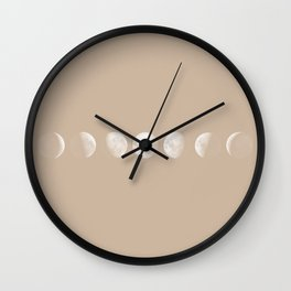 Moon Phases in Peach Wall Clock