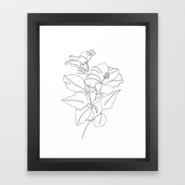 Floral one line drawing - Hibiscus Framed Art Print
