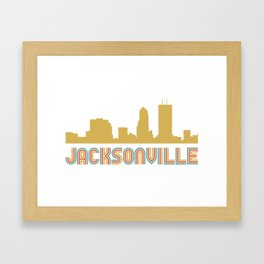 Vintage Style Jacksonville Florida Skyline Framed Art Print