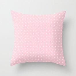 White Polka Dot Hearts on Light Soft Pastel Pink Throw Pillow