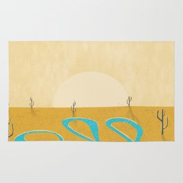 A stream of water in warm yellow desert Rug