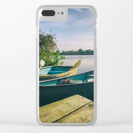 Canoe and Row Boat tethered on the River Thames Clear iPhone Case