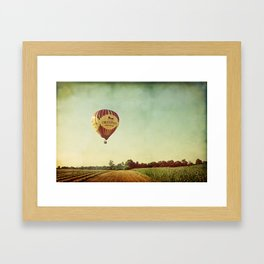 Hot Air Balloon Over Farmland Framed Art Print