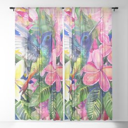 Hummingbird and Plumeria Florwers Tropical bright colored foliage floral Hawaiian Flowers Sheer Curtain