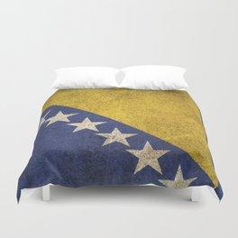 Old and Worn Distressed Vintage Flag of Bosnia - Herzegovina Duvet Cover