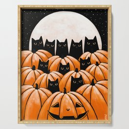 Black Cats in the Pumpkin Patch Serving Tray
