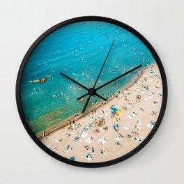 Keep Calm And Think Of The Beach | Aerial Print | Beach Print | Waves Art Print | Modern Wall Art Wall Clock