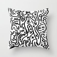 Graffiti Street Art Black and White Throw Pillow