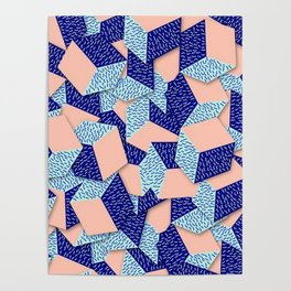 Colorful Aqua Geometric Pattern Poster