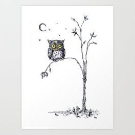 owl in the moonlight under the stars too big for his little tree Art Print