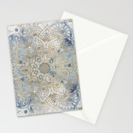 Yoga, Mandala, Blue and Gold, Wall Art Boho Stationery Cards