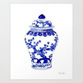Blue and White China Ginger Jar 10 Art Print