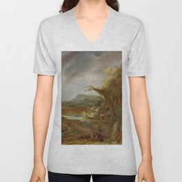 Stolen Art - Landscape with an Obelisk by Govert Flinck Unisex V-Neck