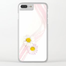Spring Flowers White and Pink Clear iPhone Case