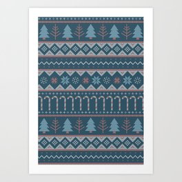 Chistmas Sweater in Blue Art Print