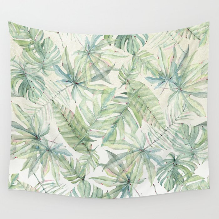 Green Tropical Leaves Wall Tapestry