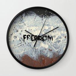 Freedom Pollock Rothko Inspired Black White Red - Modern Art - Corbin Henry Wall Clock