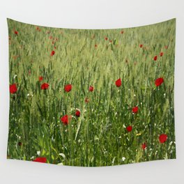 Red Poppies Growing In A Corn Field  Wall Tapestry