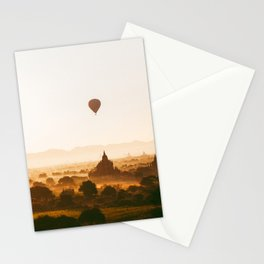 Hot-Air Balloons Flying Over Bagan Pagodas in Myanmar (Burma) Stationery Cards