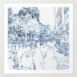 London Leicester Square Rolling the Red Carpet Art Print