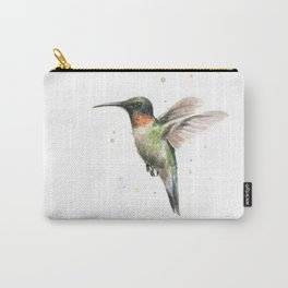 Hummingbird Watercolor Bird Animal Ruby Throated Carry-All Pouch