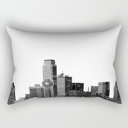 Dallas Texas Skyline in Black and White Rectangular Pillow