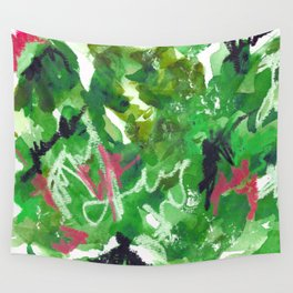 Green Abstract Mixed-Media: Nature Wall Tapestry