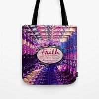 bible verse Tote Bags featuring FAITH Colorful Purple Christian Luke Bible Verse Inspiration Believe Floral Modern Typography Art by The Faithful Canvas