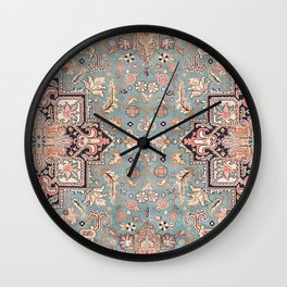 Persian carpet with heriz pattern pink, peach and blue Wall Clock