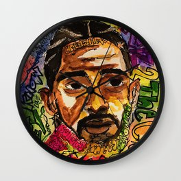 rip nip,rapper,rap,lyrics,music,album,poster,shirt,memorial,hiphop,wall art,painting,fan art,cool Wall Clock