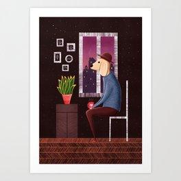 Charlie Waiting for Love I Illustration Art Print