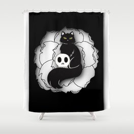Black Cat with Skull Shower Curtain