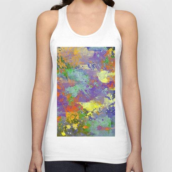 Signs Of Life - Vibrant, random paint splatter multi coloured abstract Unisex Tank Top