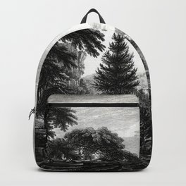 A design to represent the beginning and completion of an American settlement or farm Backpack