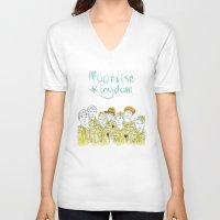 moonrise kingdom V-neck T-shirts featuring Moonrise Kingdom by Elly Liyana