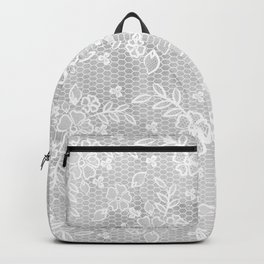 Beautiful Gray & White Floral Lace Pattern Backpack