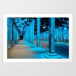 Blue light underpass Hansaring | Cologne Germany travel photo Art Print