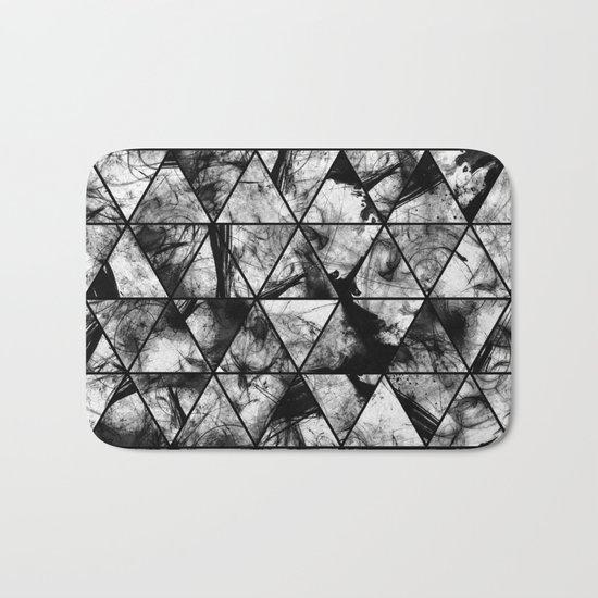 Triangular Whispers - Black and white, geometric abstract Bath Mat