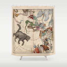Pictorial Celestial Map with Constellations Ursa Major and Ursa Minor Shower Curtain