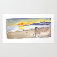 Golden Light at the Beach Art Print