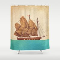 nautical Shower Curtains featuring Winged Odyssey by Terry Fan