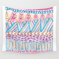 mexico Wall Tapestries featuring New Mexico by Laura Maxwell