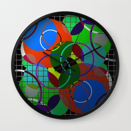 Caged Geometry - Abstract, metallic, geometric, rainbow coloured circles Wall Clock