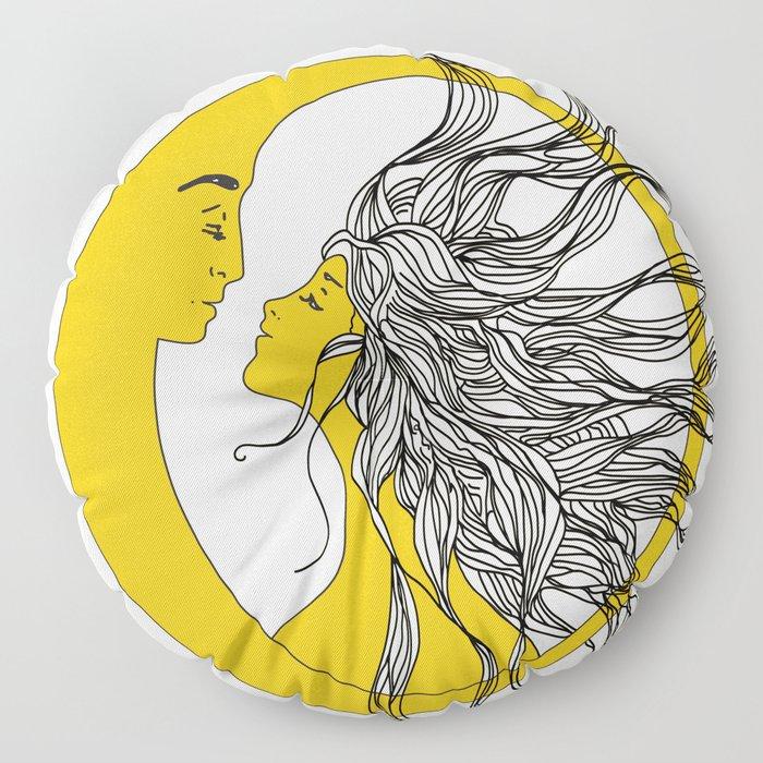 Sun and Moon Floor Pillow
