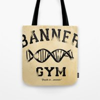 gym Tote Bags featuring Banner Gym by Mitch Ethridge