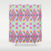 coyote Shower Curtains featuring Coyote Tribal Chevron by naturessol