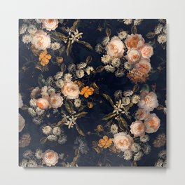 Antique Botanical Peach Roses And Chamomile Midnight Garden Metal Print